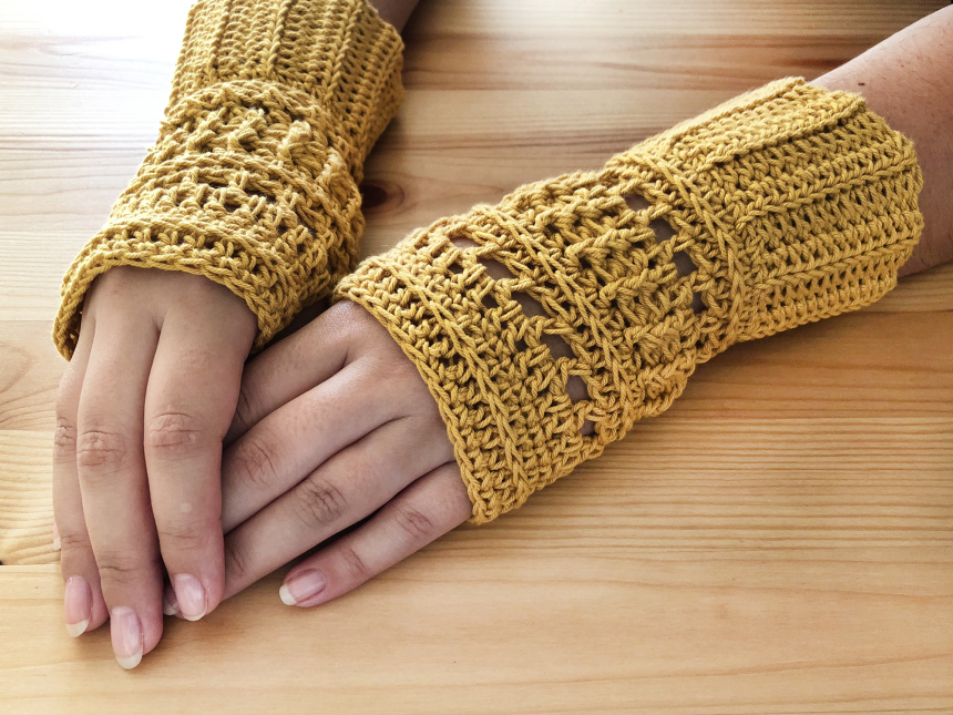 Guantes sin Dedos / Mitones #3 – Patrón de Crochet